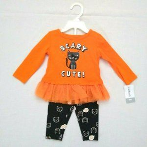 Carter's Halloween Black Cat Scary Cute Top 9 mos